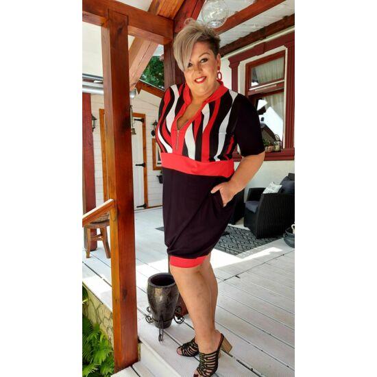 Heidi zippes FashionbyNono ruha/fekete-piros